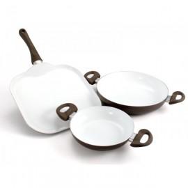 Set de sartén grill y 2 casseroles