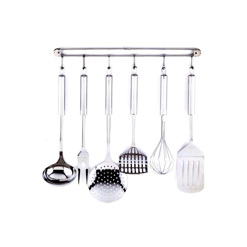 Juego de 6 herramientas de cocina y colgador kaiser for Colgador utensilios cocina