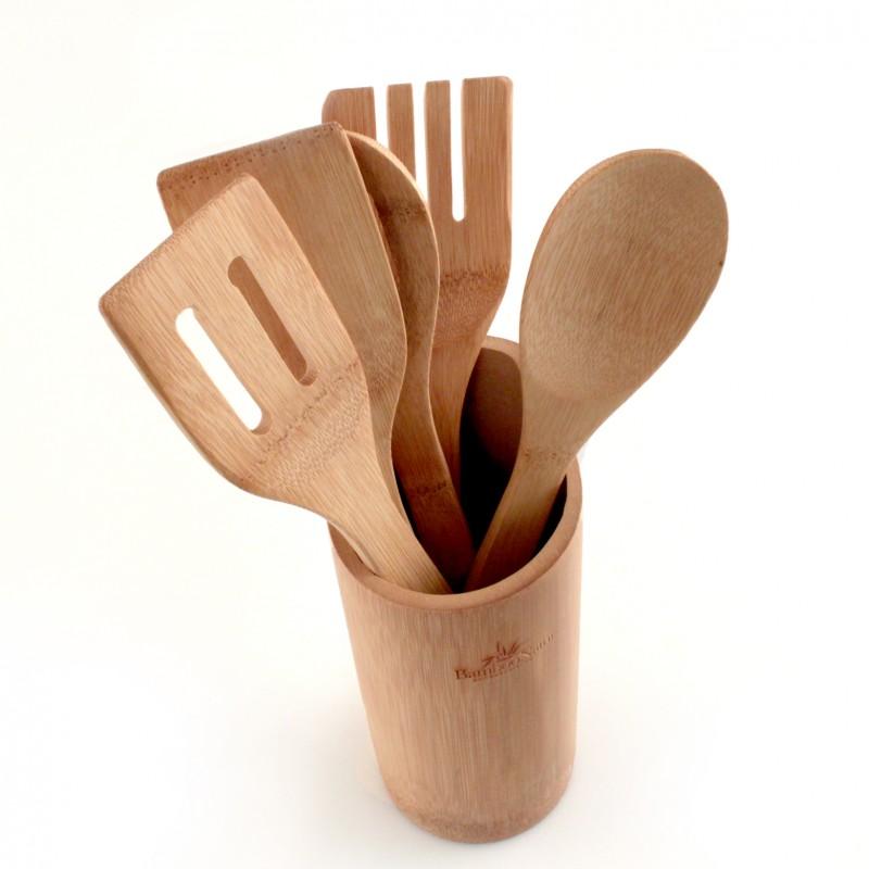 Set de 5 herramientas y bote bamboo natur for Bote utensilios cocina